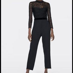 Zara black lace contrasting jumpsuit romper